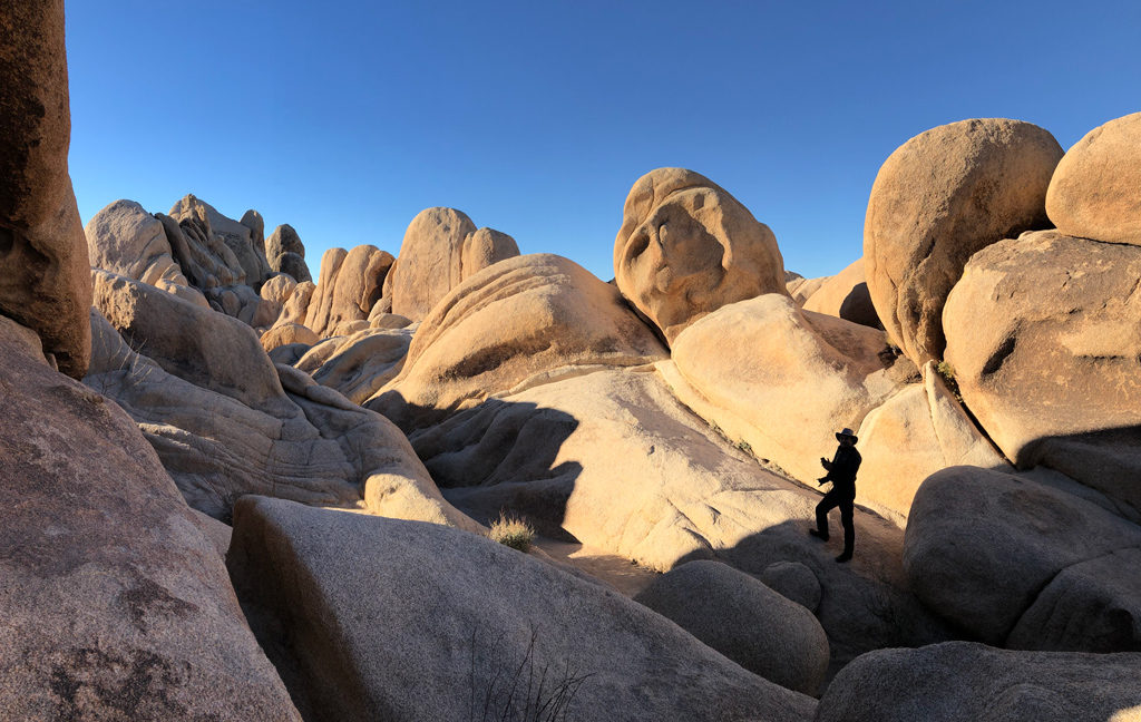 Walking on the boulders in Joshua Tree NP is fun and easy.