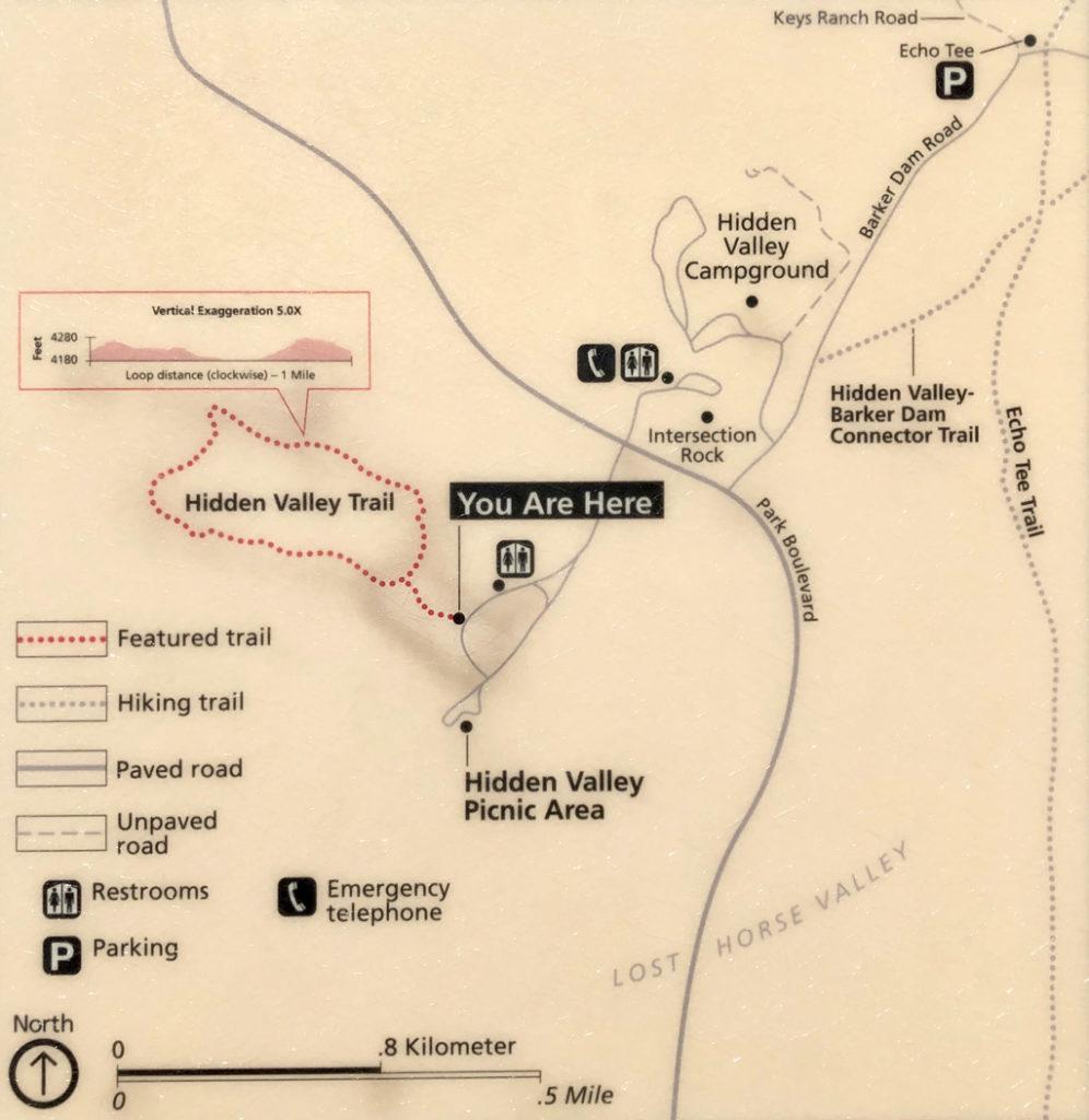 Hidden Valley trail maps in Joshua Tree National Park.