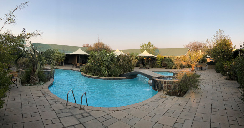 The Square in Arebbusch hotel, Namibia. In the cool winter morning no one dared enter the pool.