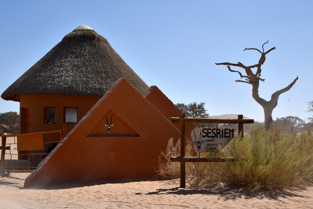 The entrance to the Namib-Naukluft National Park at Sesriem.