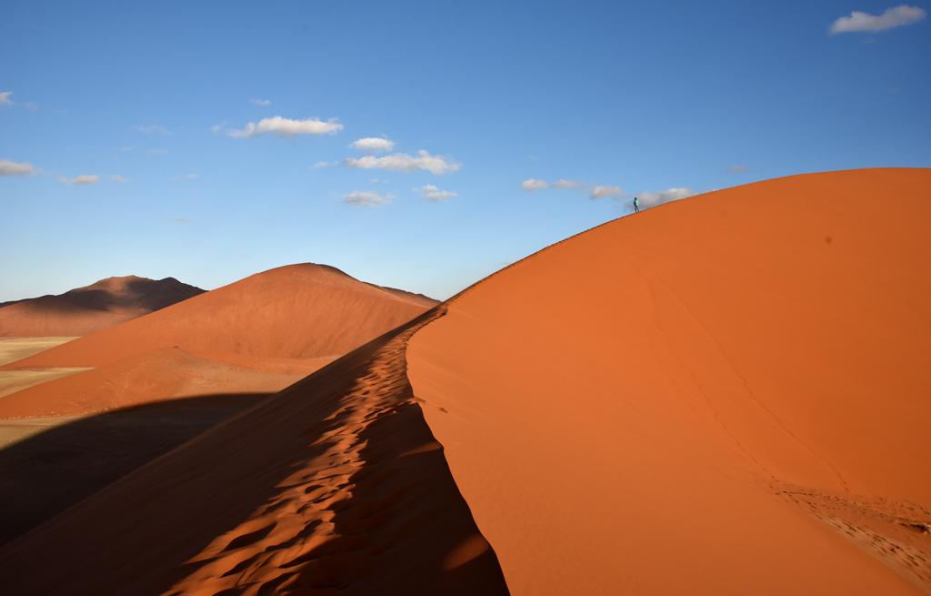 Dune 45 in Namibia's red desert in Namib Naukluft National Park