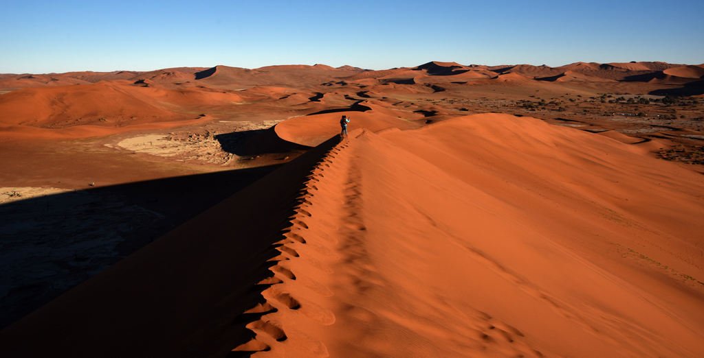 From the first section of Big Daddy Dune in Sossusvlei, we're looking at the parking lot on the top right section of the view.