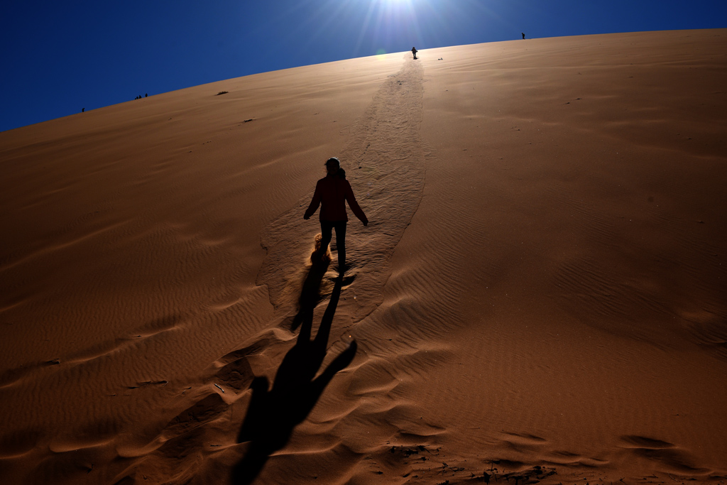 Sliding or walking down from Big Daddy to Deadvlei, on soft red sand that flows like a liquid.