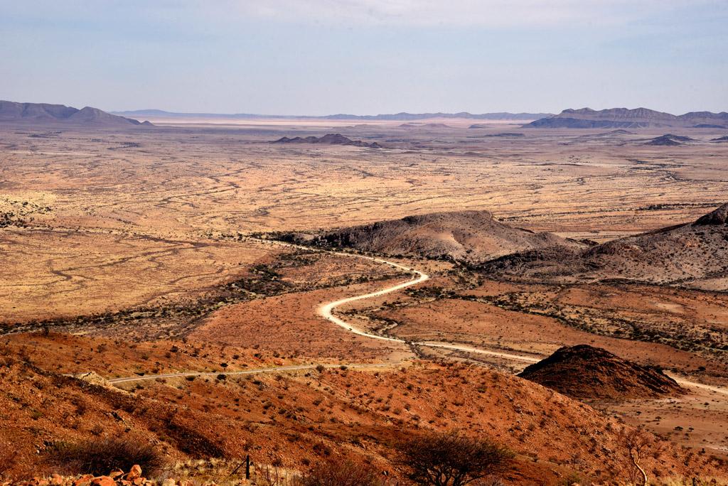 Drive through a Namibian mountain pass.