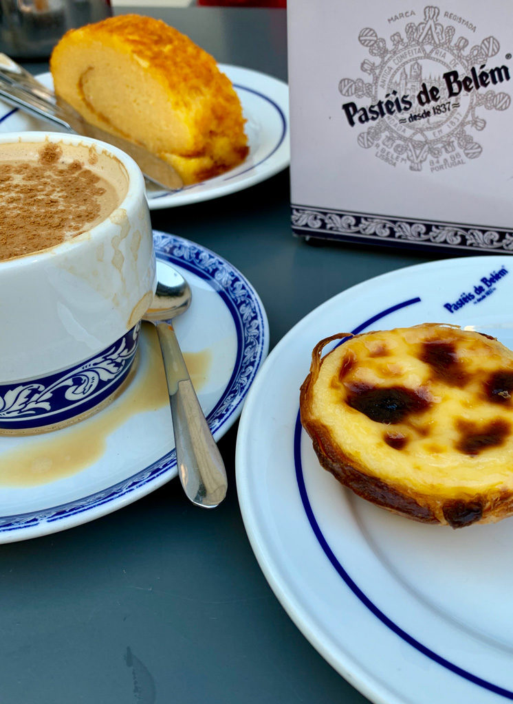 Pastéis de Belém custard cart in the cafe. It's best matched with a strong espresso.