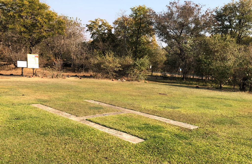 A helicopter landing pad on our accommodation grounds in Livingston, Zambia. Possibly used for helicopter rides over Victoria Falls.