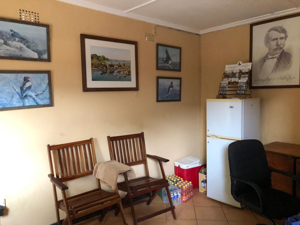 The simple office of Victoria Falls Horse Safari Stables in Livingston, Zambia.