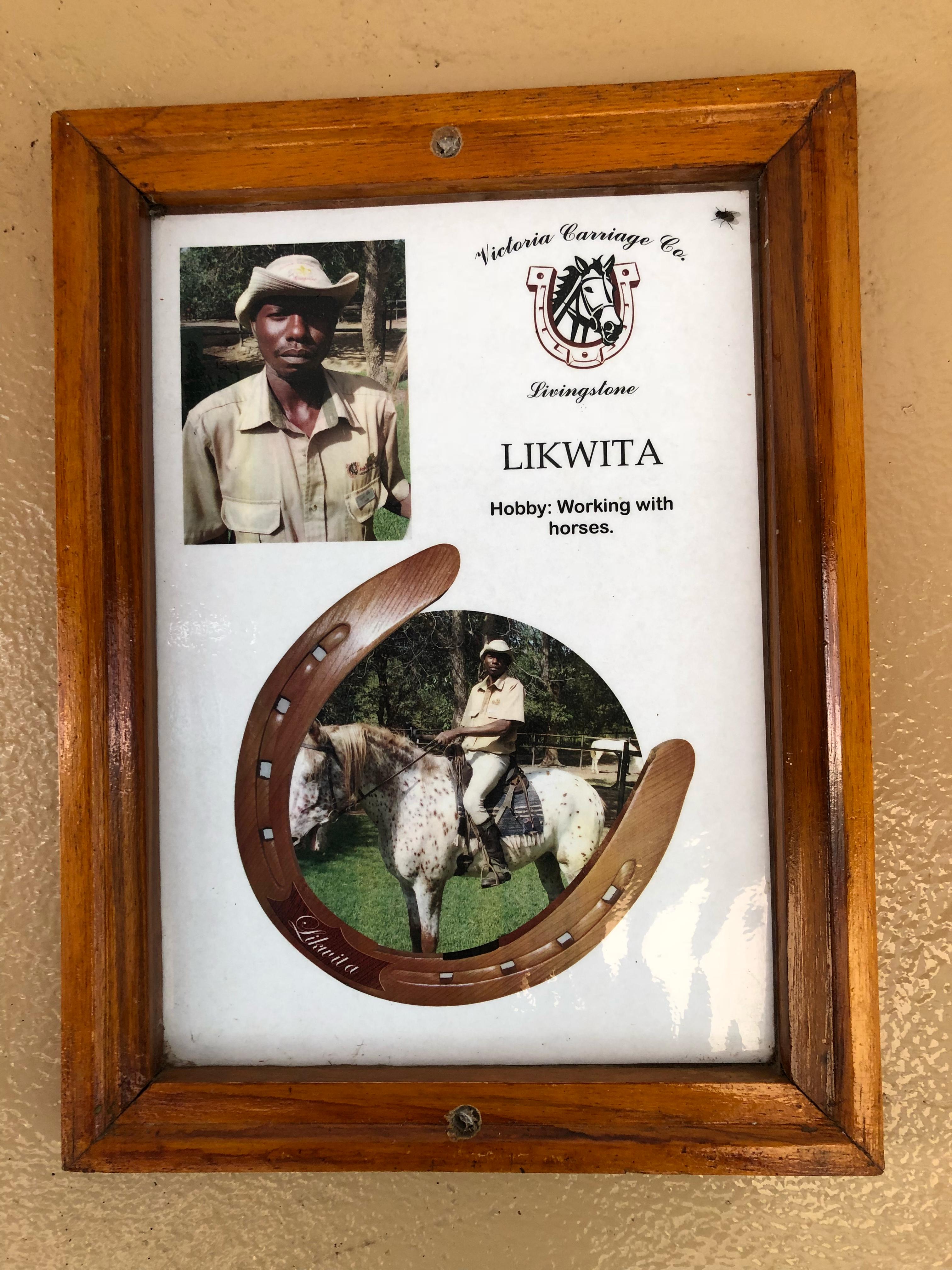 Horse trainer profiles adorn the stable walls in Victoria Falls Horse Safari Stables in Zambia