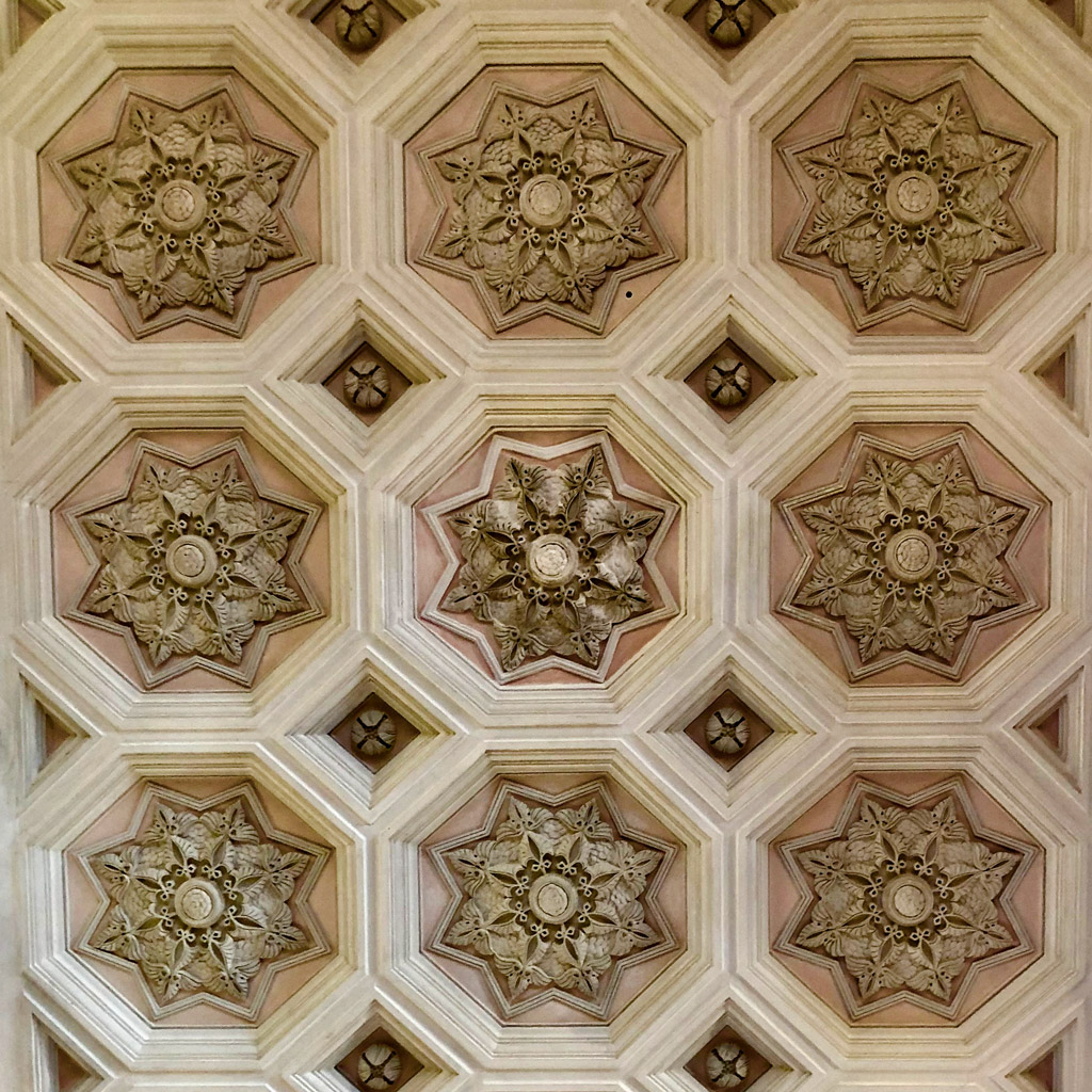 Gorgeous 3D tile on the ceiling of a room in Pena Palace, Sintra in Portugal