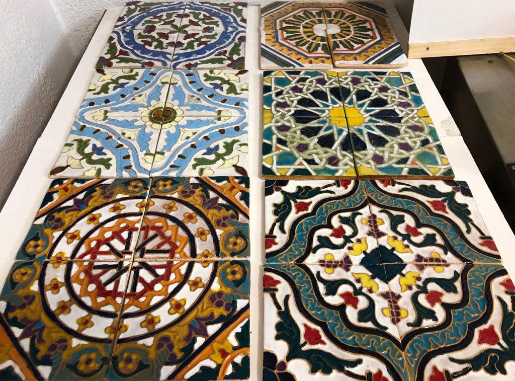 His tiles on display in the store next door in Sintra