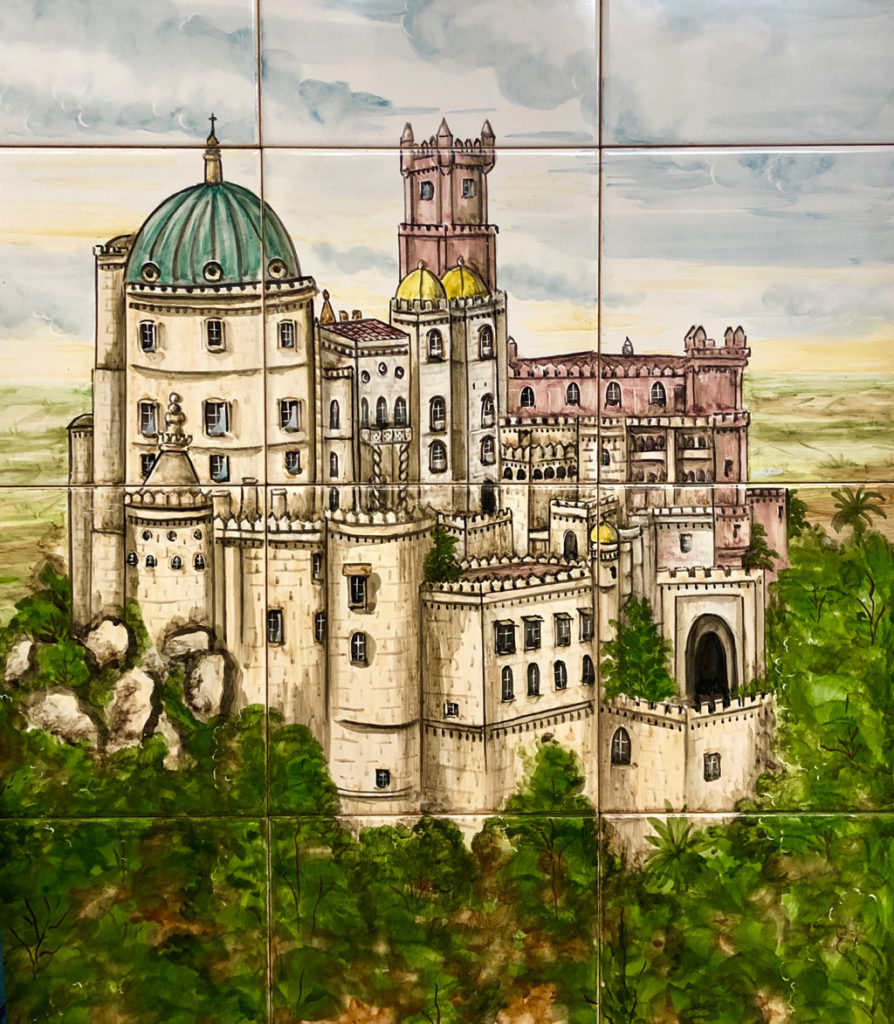Pena Palace captured on tiles. In Sintra, Portugal