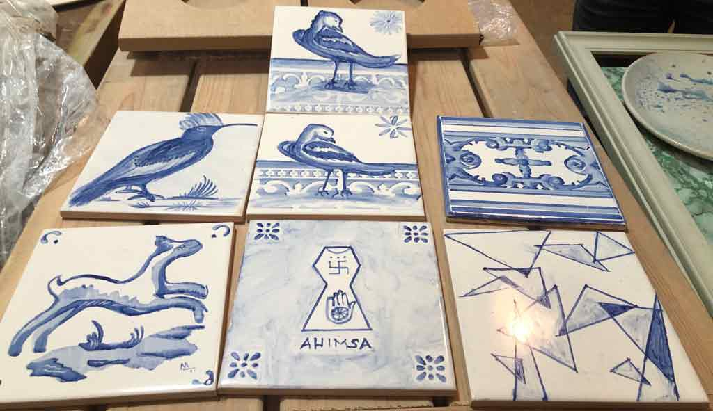 Our beautiful tiles after they were baked.