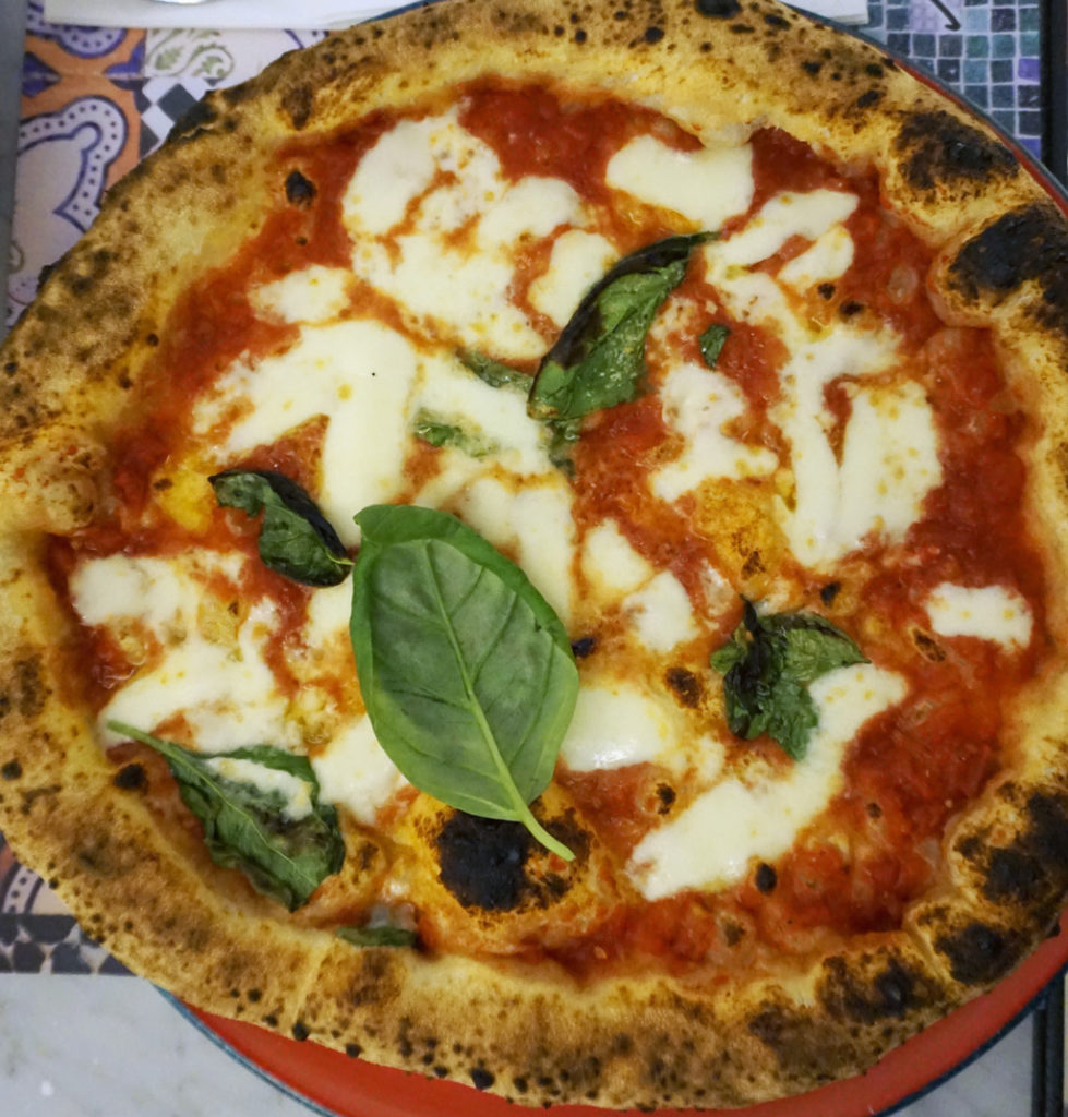 A traditional margherita pizza