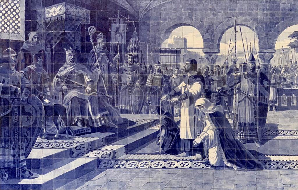 A king's court scene in São Bento train station in Porto