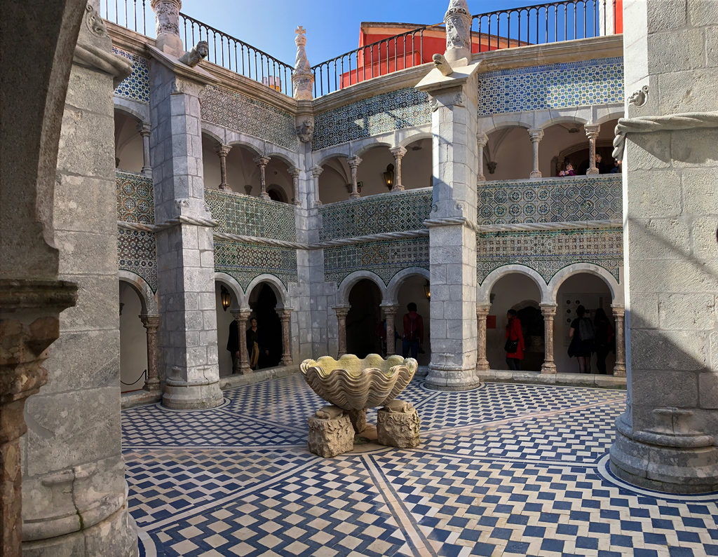 The square in the middle of Pena Palace is paneled with stunning tile work!