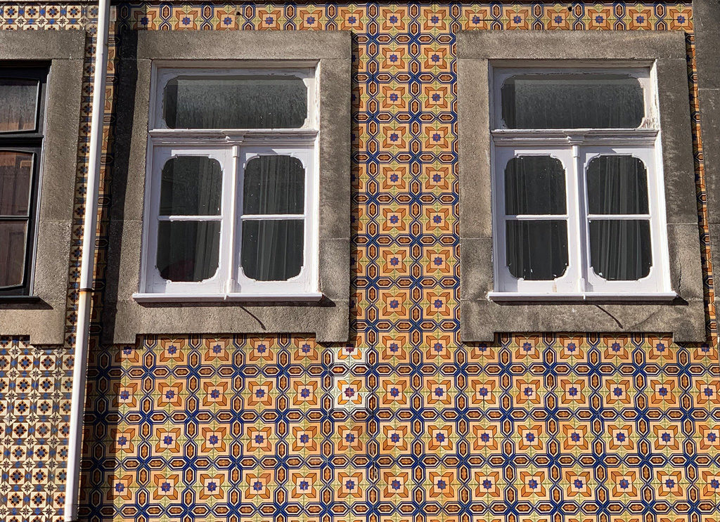 A tile pattern or browns in Lisbon